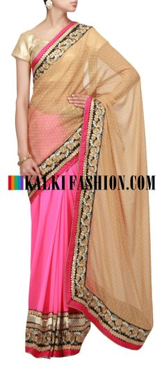 Buy Online from the link below. We ship worldwide (Free Shipping over US$100) http://www.kalkifashion.com/half-and-half-saree-in-gold-and-pink-with-embroidered-border.html Half and half saree in gold and pink with embroidered border