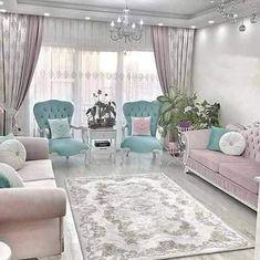 Decor, Pink Home Decor, Small Living Room Decor, Home Decor, Closet Decor, Romantic Living Room, Pastel Room Decor, Drawing Room Interior, Home Decor Furniture