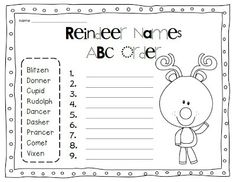 Happy December and Reindeer Names ABC Order