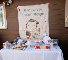 """A bear-themed 1st birthday for Beckham -- Maybe an """"H"""" (Happy hippo in a helicopter? Hooters? No. No hooters.)"""