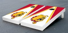 Our Ferris State University Bulldogs Cornhole Game Set Hand Painted on Birch Wood Triangle Version. Get your custom set at victorytailgate.com