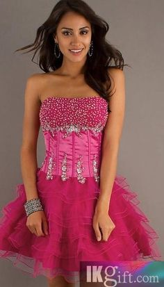 Short Strapless Hot Pink Dress - Cloths!!!! - Pinterest - Shops ...