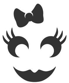 Jack O Lantern Patterns Girly Pumpkin Face Templates, Printable Pumpkin Stencils, Pumpkin Template, Halloween Wood Crafts, Halloween Stencils, Halloween Clipart, Baby First Halloween, Cute Halloween, Halloween Themes