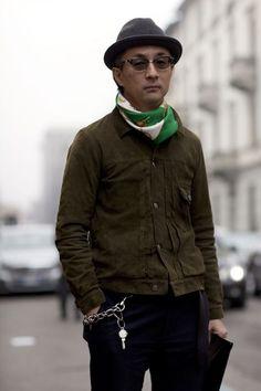 Japanese street rad style_military jacket with silk scarf