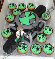 He likes the watch part and the ben 10 and the stars on the cupcakes. Ben 10 Birthday, Birthday Cards For Boys, Birthday Fun, Birthday Parties, Ben 10 Party, Ben 10 Cake, Elmo Party, Dessert Decoration, Birthday Treats