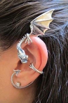 Dragon Ear Wrap, Inspired Game of Thrones Jewelry Silver Dragon Ear Cuff Elfin Dragon Ear wrap Dragon Jewelry Dragon Earring Celebrity Style Geek Mode, Dragon Ear Cuffs, Jewelry Box, Jewelry Accessories, Ear Jewelry, Handcrafted Jewelry, Bling, Cool Stuff, Secret Obsession