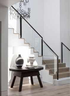 Pin By Lindsey Stoett On Staircase Interior Stairs House Stairs Design Entrée, House Design, Interior Design, Interior Ideas, Interior Paint, Design Ideas, Stair Railing Design, Glass Stairs, Glass Stair Railing