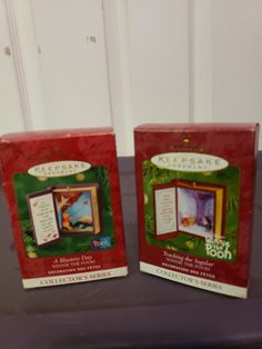 Set of two Winnie The Pooh collectors ornaments 2000 A Blustery Day and 2001 Tracking the Jagular in Original Packaging Hallmark Christmas, Hallmark Ornaments, Hallmark Homes, Thanks For The Memories, The Collector, Seasonal Decor, Winnie The Pooh, Badge, Packaging