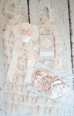 Set Petti Romper and Matching Headband  by butterflybabybands, $39.00