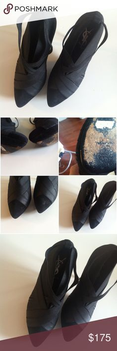 "YSL Bandage Booties Very good condition. Black bandage Yves Saint Laurent semi pointed-toe booties with crossover accents. Black suede trim, semi concealed platforms and covered heels. Faint fading at suede, outsoles and at toe points as well as slight scuffs at heels. Heels 5"". Platforms 1.5"" price is firm. More pictures upon request. No trades, no pp. Size 39 Yves Saint Laurent Shoes Ankle Boots & Booties"