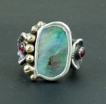 Paua Shell Ruby Nugold Sterling Silver Artisan Jewelry Handmade Ring