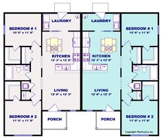 2 bed / 1 bath design with eat-in kitchen and covered front entry. Duplex Floor Plans, Apartment Floor Plans, House Floor Plans, Sims 4 House Plans, New House Plans, Small House Plans, House Construction Plan, Florence, 2 Bedroom House Plans