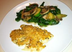 #popchips breaded tilapia with spinach, mushrooms and squash. #recipe via @Ken Scheer