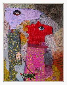Elke Trittel acrylics,collages on board 40x50cm