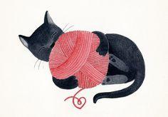 Black cat red yarn cute illustration children decor  door teconlene