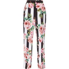 Dolce & Gabbana Floral Straight Leg Pants ($995) ❤ liked on Polyvore featuring pants, bottoms, dolce & gabbana, floral, jeans, white trousers, straight leg pants, white pants, flower print pants and straight leg trousers