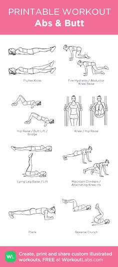 Abs & Butt: my visual workout created at WorkoutLabs.com • Click through to customize and download as a FREE PDF! #customworkout