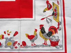 T551 Vintage Chicken & Egg Tablecloth
