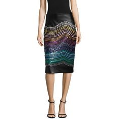 Romance Was Born Crystal Magnetic Rays Skirt featuring polyvore women's fashion clothing skirts romance was born embellished skirts knee length pencil skirt pencil skirt embellished pencil skirt