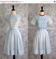 Mid 60s Pale Blue Embroidered Dress by SassySisterVintage $64
