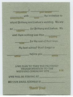 A MadLibs RSVP card?? Heck yes!