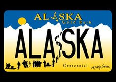 "Kathy Sarns-Irwin's original Alaska Gold Rush Centennial License plate design won the ""Best Plate in the United States Award"". This artwork is featured on her famous Free Spirit bike jersey (AK Gold Rush). North To Alaska, Visit Alaska, License Plate Designs, License Plates, Free Spirit Bike, Alaska The Last Frontier, Anchorage Alaska, Maybe One Day, Canada"