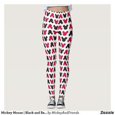 d65055038d Mickey Mouse | Black and Red Pattern Leggings Disney #Disney #leggings  Disney Dress Up