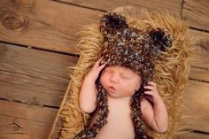 Crochet Teddy Bear hat by My Simply Sweet Little Boutique  www.facebook.com/MSSLB  Photo by: Starla Steward Photography  www.starlastewardphotography.com