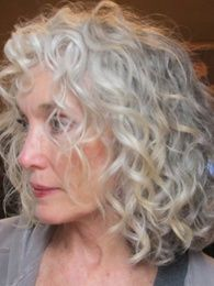 I'm not that gray but it's refreshing to see curly hair that is. Going Gray Look… - Going Gray Hair 2020 Grey Curly Hair, Silver Grey Hair, Curly Hair Styles, Natural Hair Styles, Grey Hair Inspiration, Haircuts For Fine Hair, Going Gray, Great Hair, Hair Dos