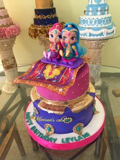 Shimmer and shine birthday cake. Visit us Facebook.com/Marissa's cake or www.marissascake.com
