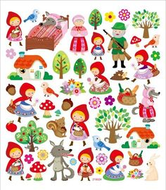 Little Red Riding Hood Sticker. Use these educational stickers as classroom tools to motivate; and reward young achievers! They feature bright colors and realistic shapes that childr Scrapbook Stickers, Scrapbook Pages, Scrapbooking, Red Riding Hood Party, Art For Kids, Crafts For Kids, Apple Stickers, Little Red, Cute Drawings