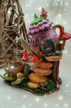 Paper clay and soda bottle fairy house Clay Fairy House, Fairy Garden Houses, Gnome House, Clay Projects, Clay Crafts, Diy And Crafts, Halloween Fairy, House Lamp, Mushroom House