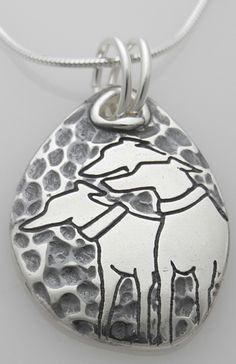 Sterling Silver hammered pendant with three greyhounds - 2017 donation piece