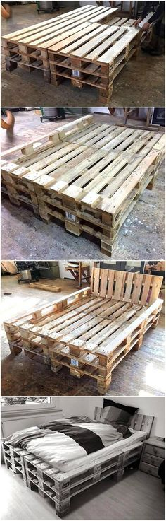We are here providing you unique and easy style to craft recycled pallet bed. At first all you need is to have equally cut pallets. Then join them all as map out with the help of nails and glue gun. Join the frames one by one to have appealing and magnificent bed.