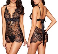 c94b9bd6eb AnloveKiss Women Sexy Lingerie Black Eyelash Lace Chemise Babydoll Nightwear  Set See-Through Pretty Lingerie