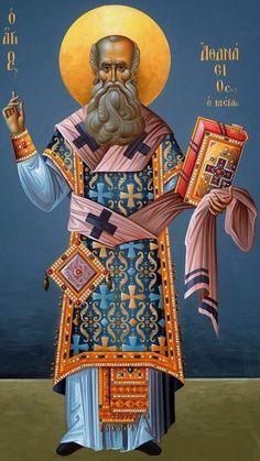 Novena to Saint Athanasius, Who Upheld the Faith with The Athanasian Creed: April 23 - May 1 Byzantine Icons, Byzantine Art, Religious Icons, Religious Art, Anthony The Great, St Athanasius, Church Icon, Catholic Saints, Orthodox Icons