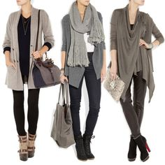 Middle one.   Skinny jeans. Ankle boots. Grey scarf. shell top. Open cardi -short back or great structured waterfall.
