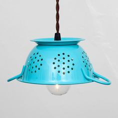 repurposed kitched colander pendant light