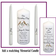 Unity Candle Set - Personalised Unity Candle Birds Design - Wedding Candles - Unity Candle by SPGiftsShop on Etsy Wedding Unity Candles, Taper Candles, Our Wedding Day, Wedding Ceremony, Personalized Candles, Marrying My Best Friend, Candle Set, Bird Design, Marry Me