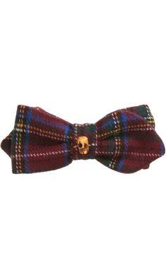 VANITIES Tartan & Skull Clip-On Bow Tie