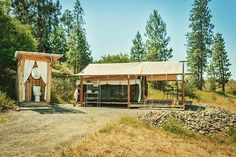 Second in line, these tented cabins set on a working farm in Davenfort are simply serene. See them in all their glory in our #linkinbio!  #Glamping #Camping #Getaway #Davenport #WA #PNW #Spokane #Nature #Outdoors #Travel #GreatEscape