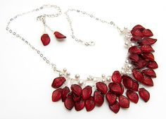 Red and White Bib Necklace Red Beaded by CherylParrottJewelry