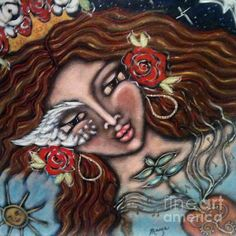 Angel Heart II - painting by Maya Telford.  #mayatelford #painting #spiritual