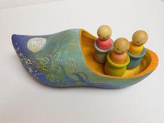 Children's Toy Wooden Shoe Dutch Lullaby Wynken Blynken And Nod