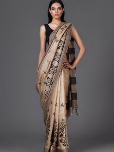 Tussar Silk Saree with Thread Embroidery from Lavanya London