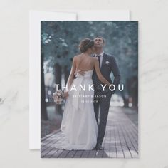Simple White Overlay Text Wedding Photo Thank You Card - tap, personalize, buy right now! #ThankYouCard #wedding #thank #you #simple #white