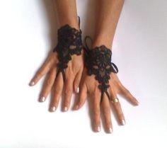 Black  lace Wedding gloves little melange bridal by GlovesByJana, $25.00