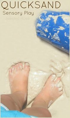 Quicksand Play Recipe: 1 box of Cornstarch 3 Cups of Play Sand (25 pound bags available at Home Depot for under $5) Water