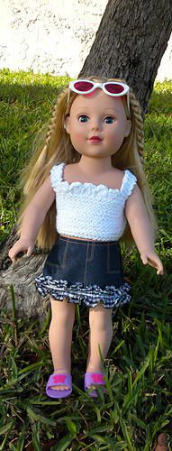 "Easy free top knitting pattern (for 18"" dolls)."