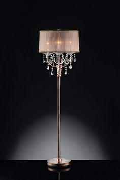 Gentil Christina Collection Hanging Crystals Floor Lamp With Sheer Barrel Lamp  Shade